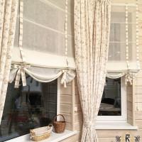 шторы натуральные из льна в сочетании с римской торой из тюля