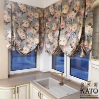 австрийские шторы в стиле прованс на кухонное окно